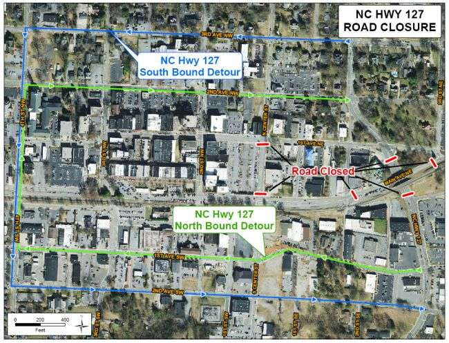 Portion Of N.C. 127 In Hickory To Be Closed Early Monday Morning