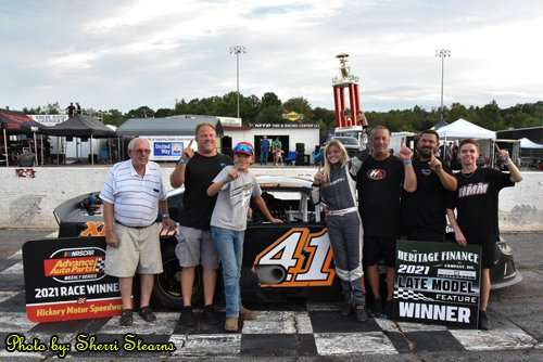 Whitney Meggs in victory lane at Hickory Motor Speedway