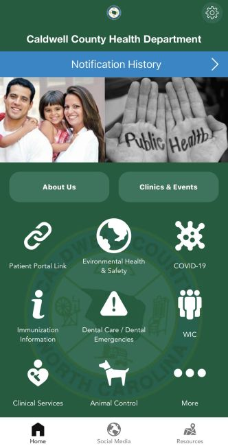 Caldwell Health Department Announces Smartphone App